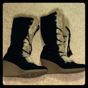 Nine West Fur tongue knee wedge boots